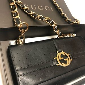 Gucci leather soho wallet on chain